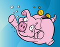 Drowning Piggy Bank Royalty Free Stock Photo