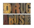 Drug abuse the words written in vintage letterpress type Royalty Free Stock Image