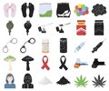 Drug addiction and attributes cartoon,black icons in set collection for design. Addict and Drug vector symbol stock web