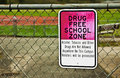 Drug free school zone sign the outlines that the is a Stock Photos