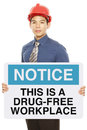 Drug free workplace a man holding a notice sign announcing a Stock Photography