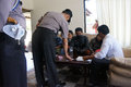 Drug raid police conducted a at a motel in karanganyar central java indonesia to suppress crime Stock Photography