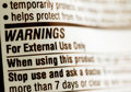 Drug warning label Royalty Free Stock Photo