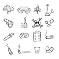 Drugs abuse narcotic drawing icons set Royalty Free Stock Image