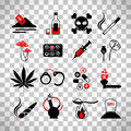 Drugs and alcohol addiction icons