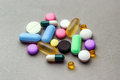 Drugs collection of tablets pills and Stock Photo