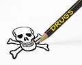 Drugs leads to death concept of leading with pencil drawing skull Stock Image