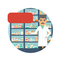 Drugstore pharmacist with speech bubble.