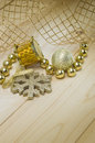 Drum ball snowflake christmas toys on a wooden texture Royalty Free Stock Photo