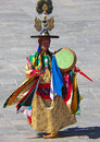 Drum Dancer in His Costume at Wangdue Tshechu Royalty Free Stock Photo