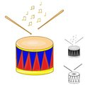 Drum and drumsticks Royalty Free Stock Photos