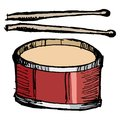 Drum with drumsticks hand drawn sketch cartoon illustration of Stock Images