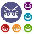 Drum and drumsticks icons set