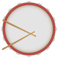 Drum with drumsticks the view on the work surface vector illustration Stock Images