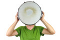 Drum head man holding a snare over his Stock Photo