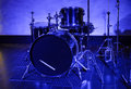 Drum kit in blue light closeup Royalty Free Stock Photo