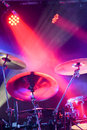 Drum kit under spotlights Royalty Free Stock Photo