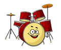 Drum set having a big happy laughing smile for musical performance with band with the in the foreground Stock Images