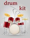 Drum set kit musical instruments stock vector illustration
