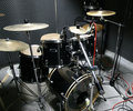 Drum set prepared for recording Royalty Free Stock Images