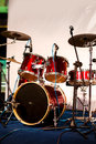 Drum set on stage red the in a party Stock Photography