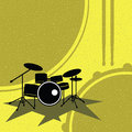 Drum set vector on the retro style Royalty Free Stock Images