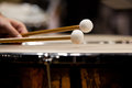 Drum sticks hitting the timpani Royalty Free Stock Photo