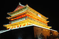 Drum tower in xian china night view of the famous landmark of Royalty Free Stock Images