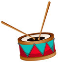 Drum with two sticks Royalty Free Stock Photo