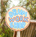 Drum Workshop Signage Royalty Free Stock Photo