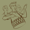 Drummer boy young soviet on parade illustration Royalty Free Stock Photos