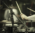 Drummer detail of a on the rock concert selective focus on hands Stock Photo