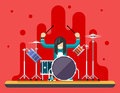 Drummer Drum Icons Set Hard Rock Heavy Folk Music Background Concept Flat Design Vector Illustration Royalty Free Stock Photo