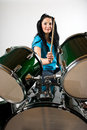 Drummer with drum set Stock Images