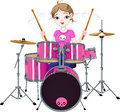 Drummer girl illustration of teenager playing drums Stock Images
