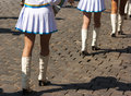 Drummer girls legs on city day sunny summer Royalty Free Stock Image
