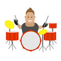 Drummer illustration of man with musical instrument on white background Stock Image