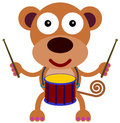 Drummer monkey a happy mokey playing with a drum Stock Photos