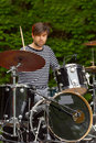 Drummer playing live on stage Royalty Free Stock Image