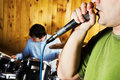 Drummer and rock singer Royalty Free Stock Images