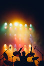 Drummer silhouette on a stage Royalty Free Stock Photo