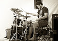 Drummer troy howard plays cultivate food festival port hope ontario the music scene in northumberland county is rich in talent and Stock Image