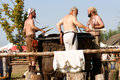 Drummers three to encourage the fight against slavs and vikings in wolin poland Stock Photography