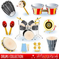 Drums music collection Royalty Free Stock Images