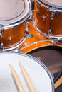 Drumsticks on drum two top of a kit Royalty Free Stock Photo