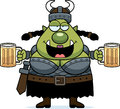 Drunk cartoon orc a illustration of a female looking Royalty Free Stock Image
