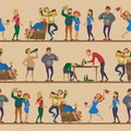 Drunk cartoon people vector alcoholic man and woman alcoholism drunken tipsy characters person seamless pattern
