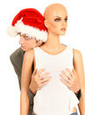 Drunk Christmas man with mannequin Royalty Free Stock Image