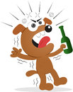 Drunk dog cartoon funny holding beer bottle and screaming Stock Images