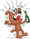 Drunk dog retro cartoon funny holding beer bottle and screaming Stock Image
